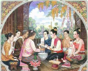 A traditional family gathering at Songkran