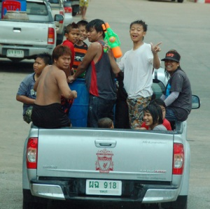 A typical Songkran scene