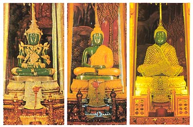 The Emerald Buddha wearing his three seasonal costumes