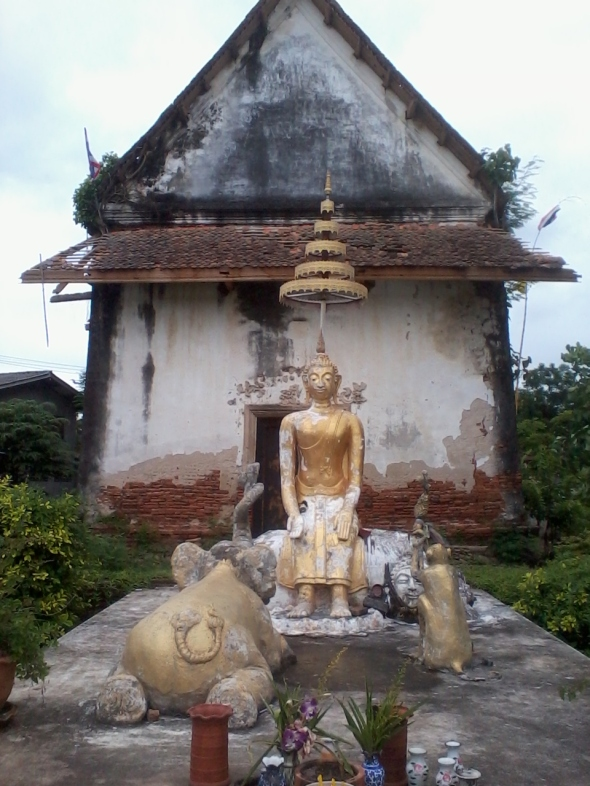 Buddha with elephant and monkey on Koh Kret