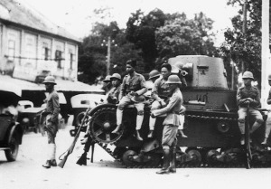 troops on the street after the coup
